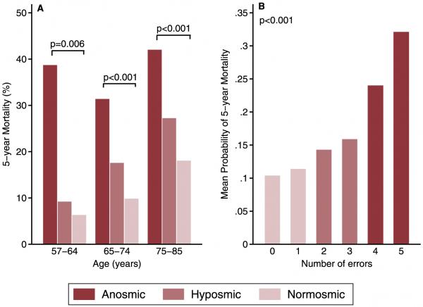 Wskaźnik pięcioletniej śmiertelności w grupie o różnych dysfunkcjach zmysłu węchu w podziale na trzy grupy wiekowe (C) doi:10.1371/journal.pone.0107541.g001